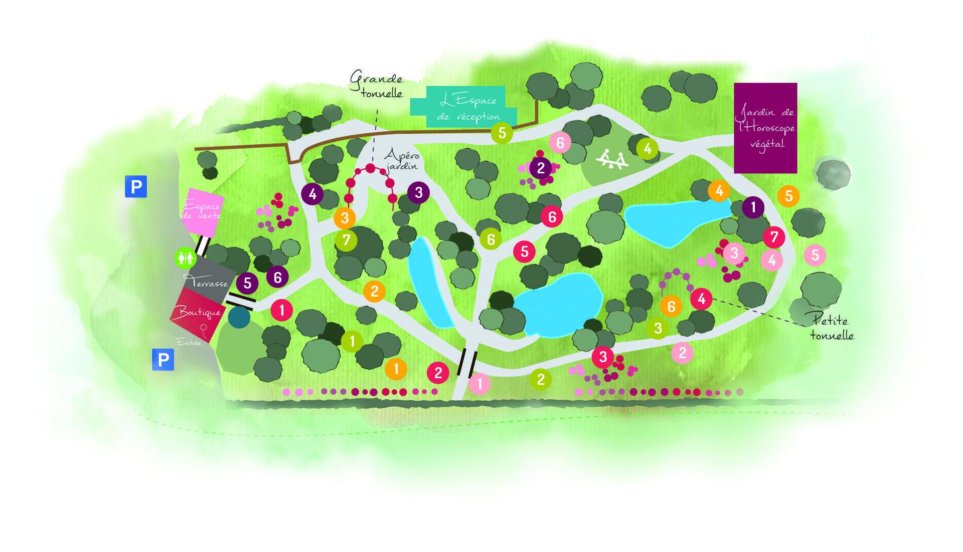 Plan et carte de la roseraie